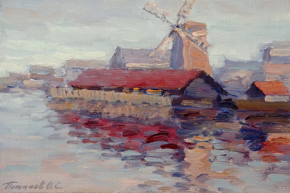 12. Голландия. Старая мельница 2009. Х., м. 20х30