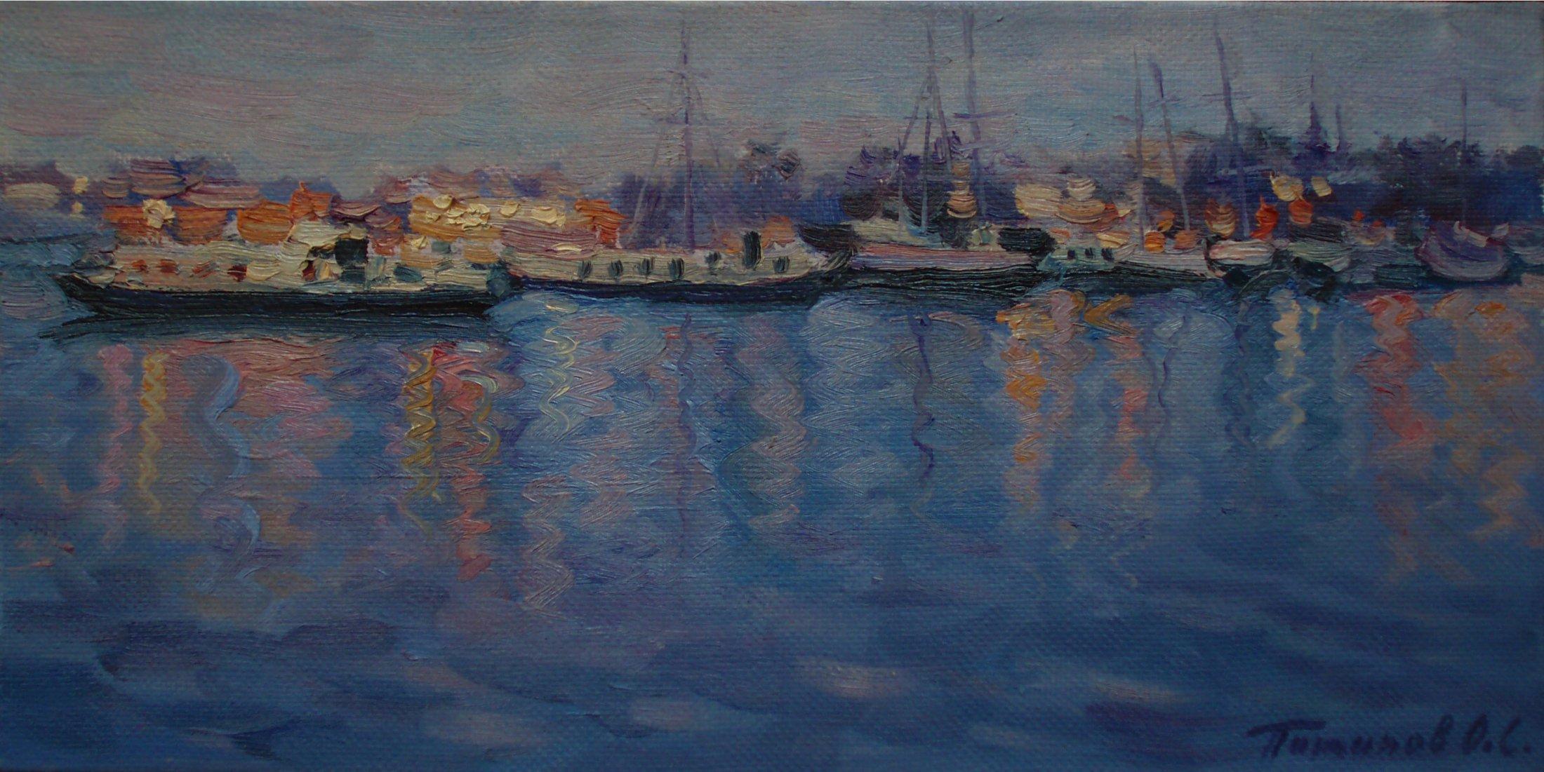 9. Амстердам. Вечерний порт. 2009. Х., м. 20х40