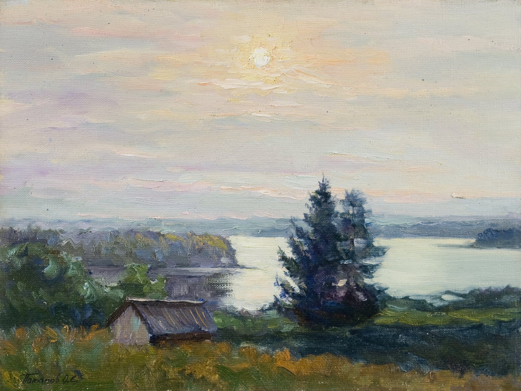 7. Восход на озере. 2010. Х., м. 30х40