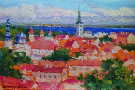 2. Таллин. Вид на церковь св. Олафа. 2019. Х., м. 20х30 см.