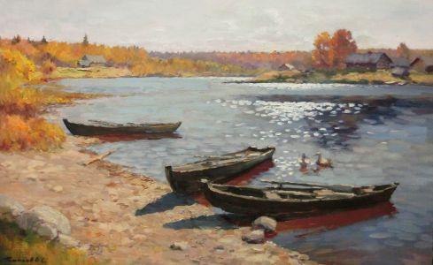 10. Кенозеро. Лодки на Онеге. 2014. Х.,м. 50х80