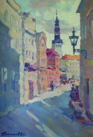 8. Таллин. Улица в старом городе. 2019. Х., м. 30х20 см.